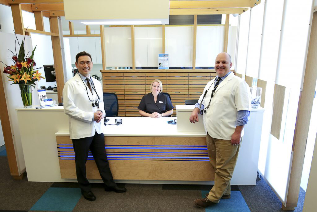 Dental clinic reception area with Dentists Dr Darryl Marsh and Dr David Kerr with front desk staff Bronwyn.